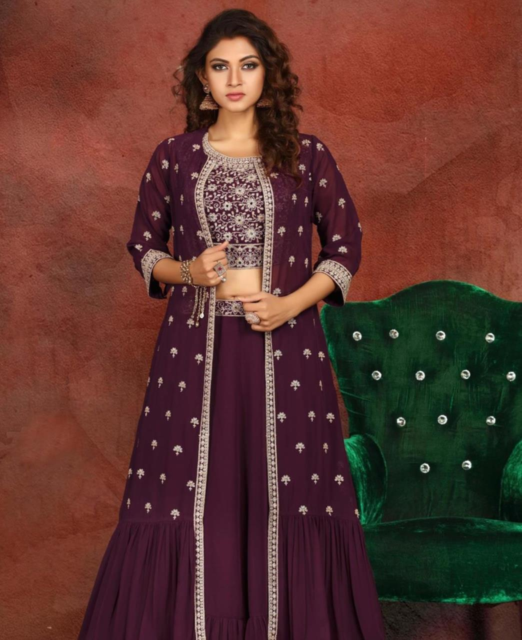 Embroidered Georgette Straight cut Salwar Kameez in Wine