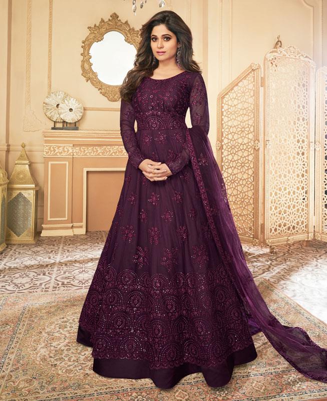 Embroidered Satin Abaya Style Salwar in Purple