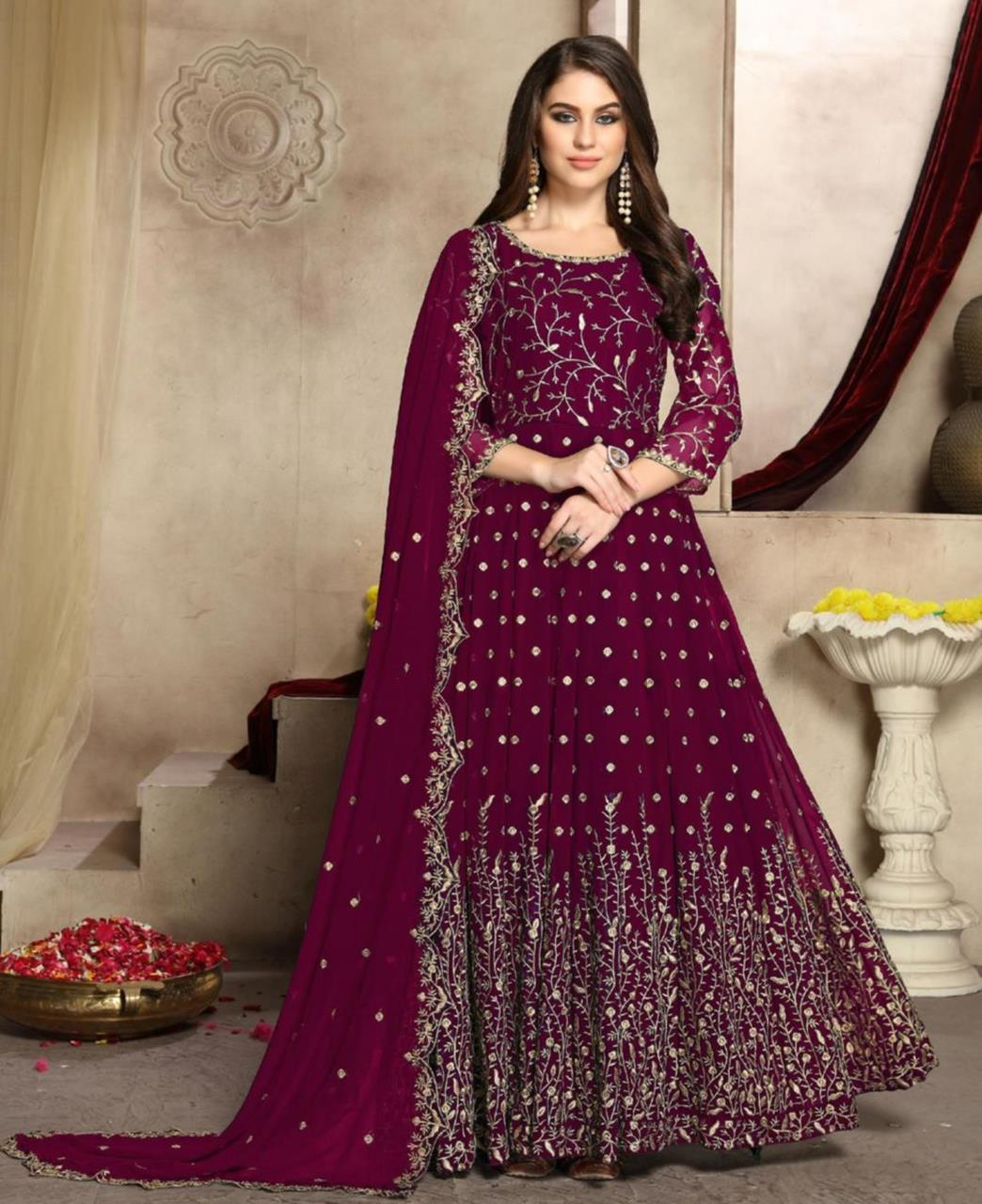 Embroidered Georgette Abaya Style Salwar in Violet