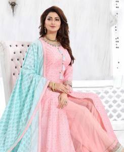 Thread Silk Straight cut Salwar Kameez in Light Pink