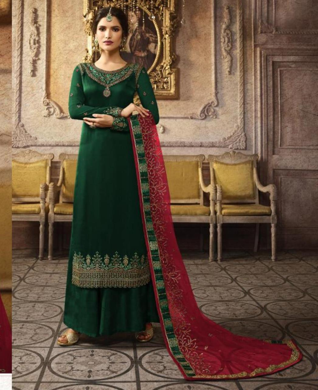 Stone Work Georgette Straight cut Salwar Kameez in Dark Green