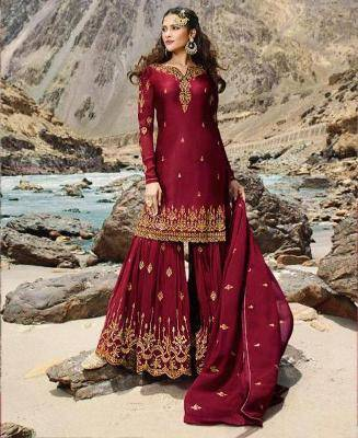 Embroidered Faux Georgette Red Palazzo Suit Salwar