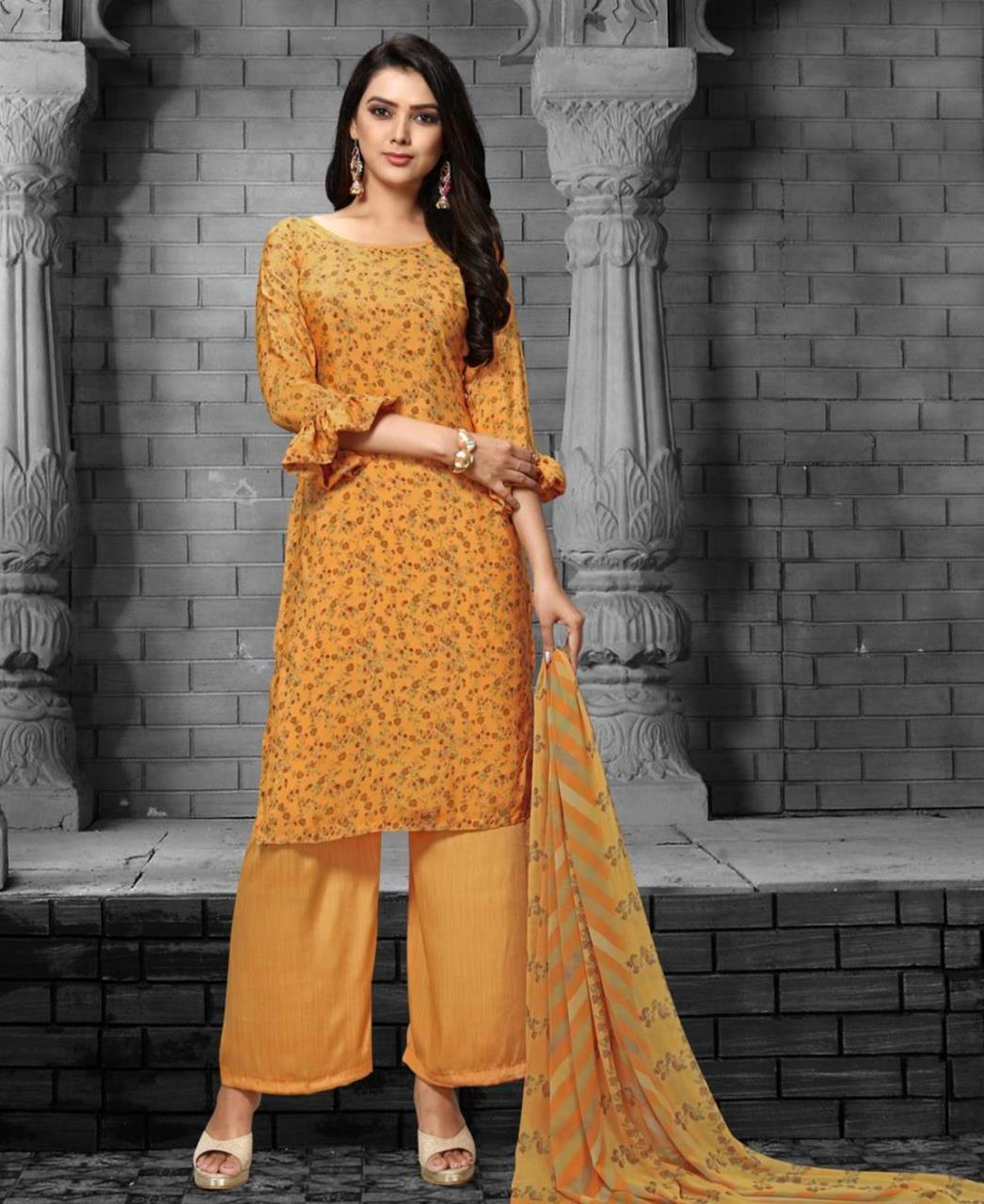 Printed Georgette Straight cut Salwar Kameez in Musterd