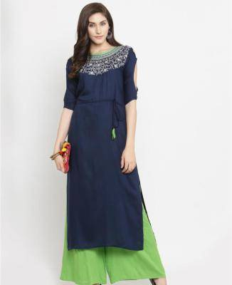 Embroidered Cotton Navyblue Palazzo Suit Salwar