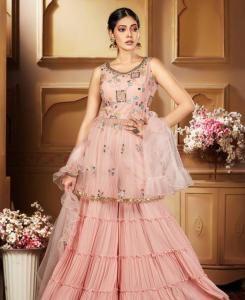 HandWorked Georgette Straight cut Salwar Kameez in L Pink