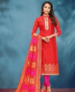 Cotton Straight cut Salwar Kameez in Red