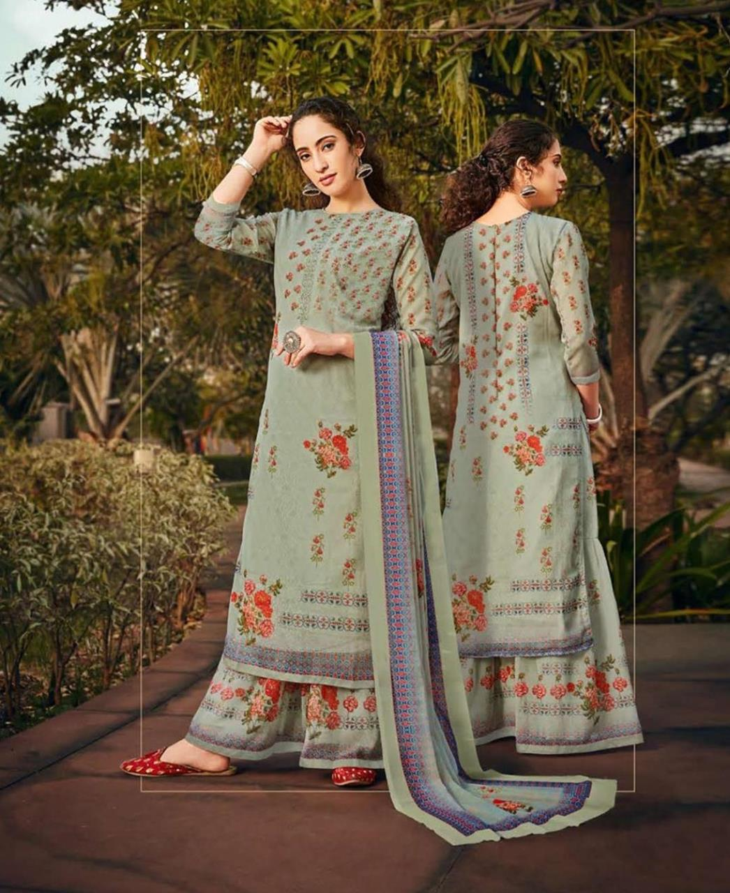Stone Work Georgette Straight cut Salwar Kameez in Pastel Green