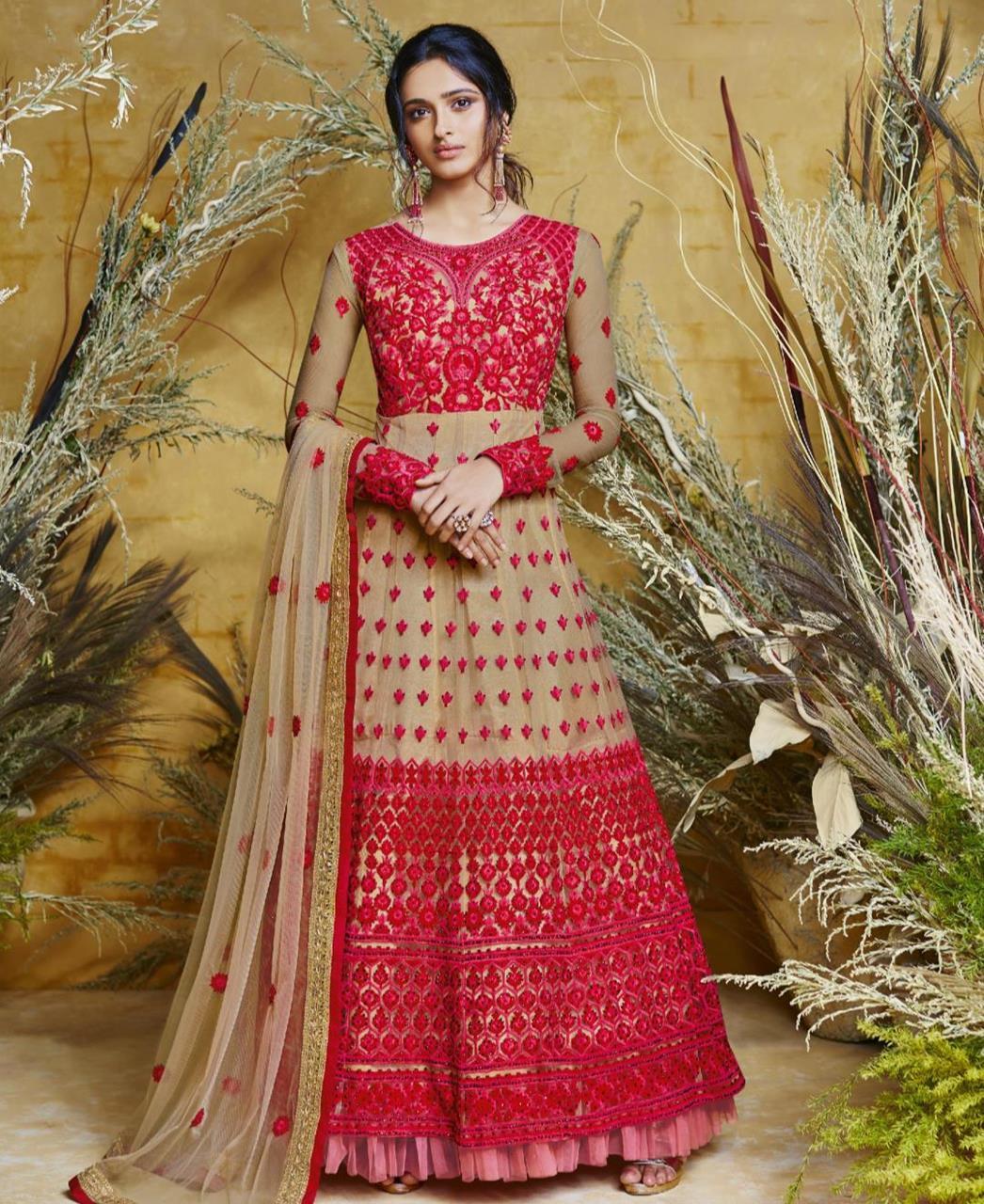 Embroidered Net Red Abaya Salwar Kameez