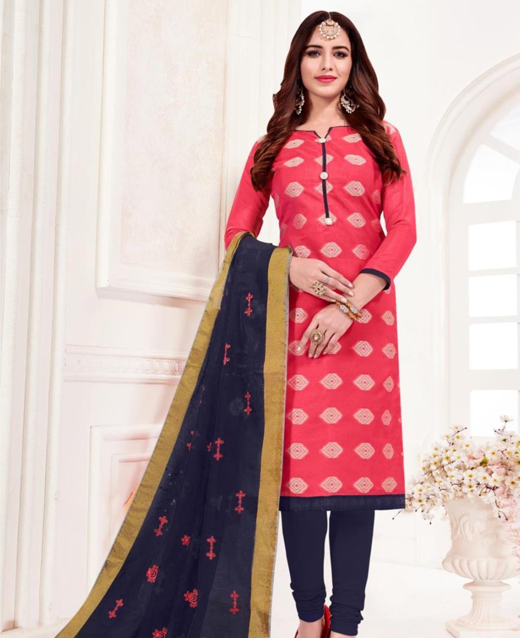 Embroidered Banarasi Silk Pink Straight Cut Salwar