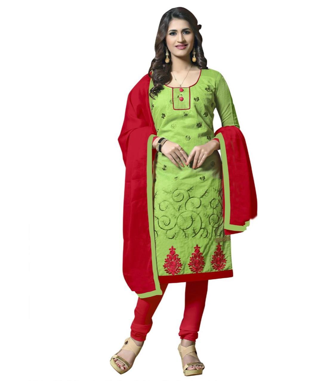 Cotton Straight cut Salwar Kameez in Light Green
