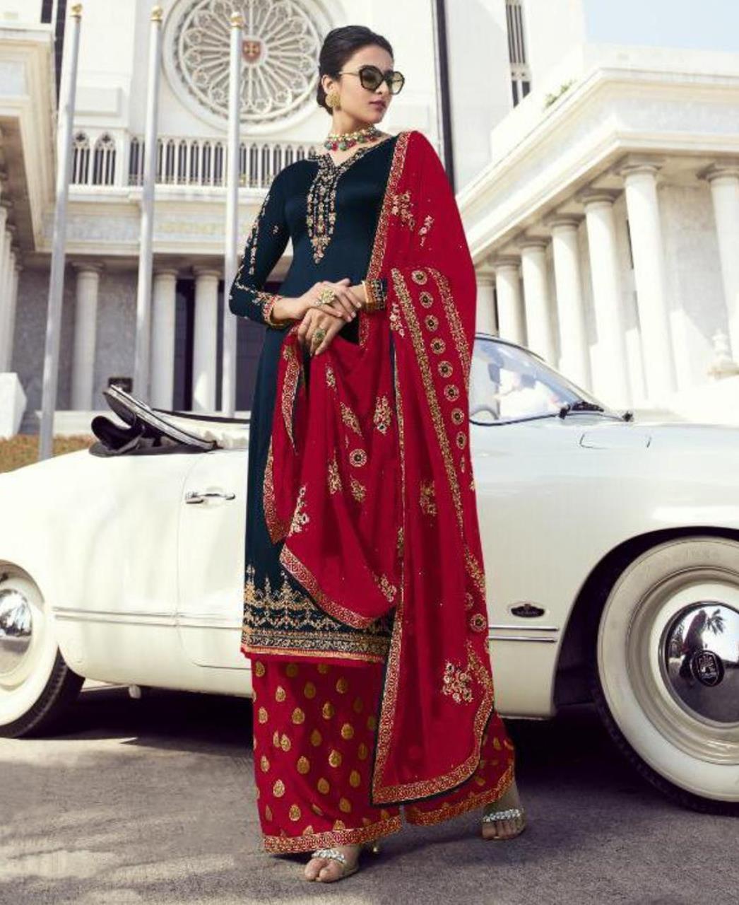Georgette Straight cut Salwar Kameez in Royal Blue