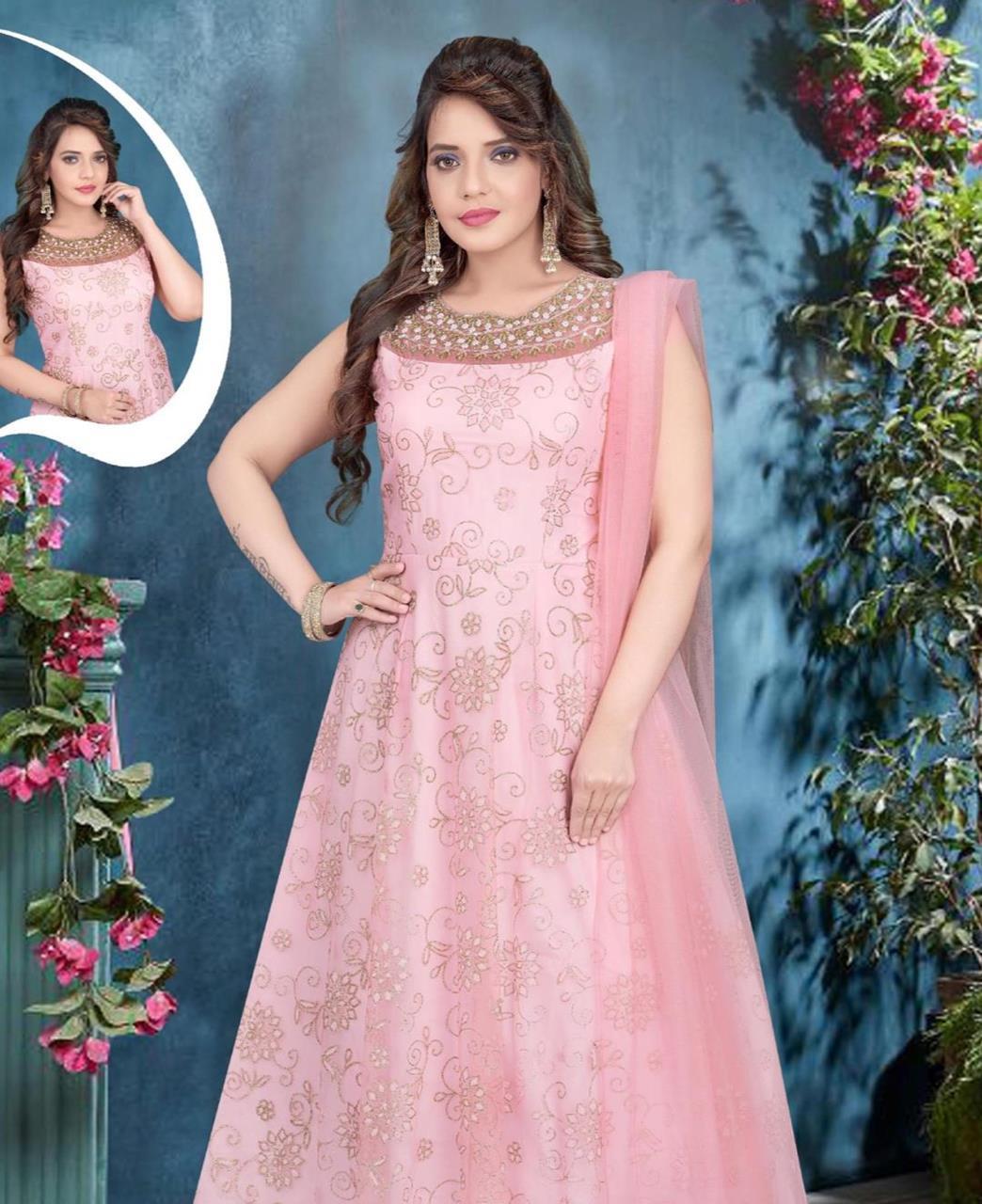 HandWorked Net Straight cut Salwar Kameez in Light Pink