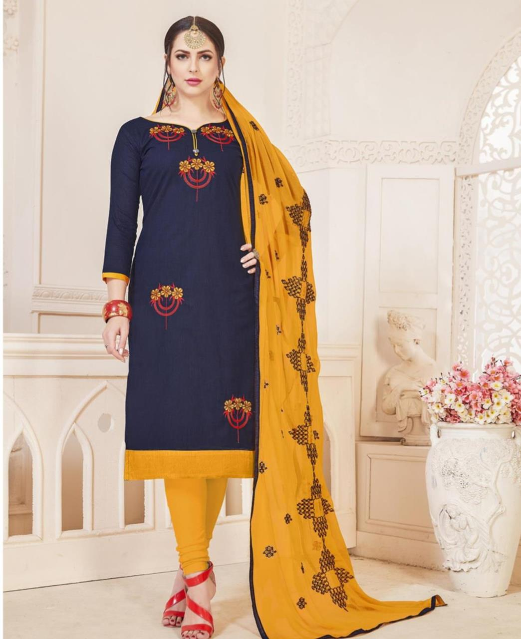 Embroidered Cotton Navyblue Straight Cut Salwar