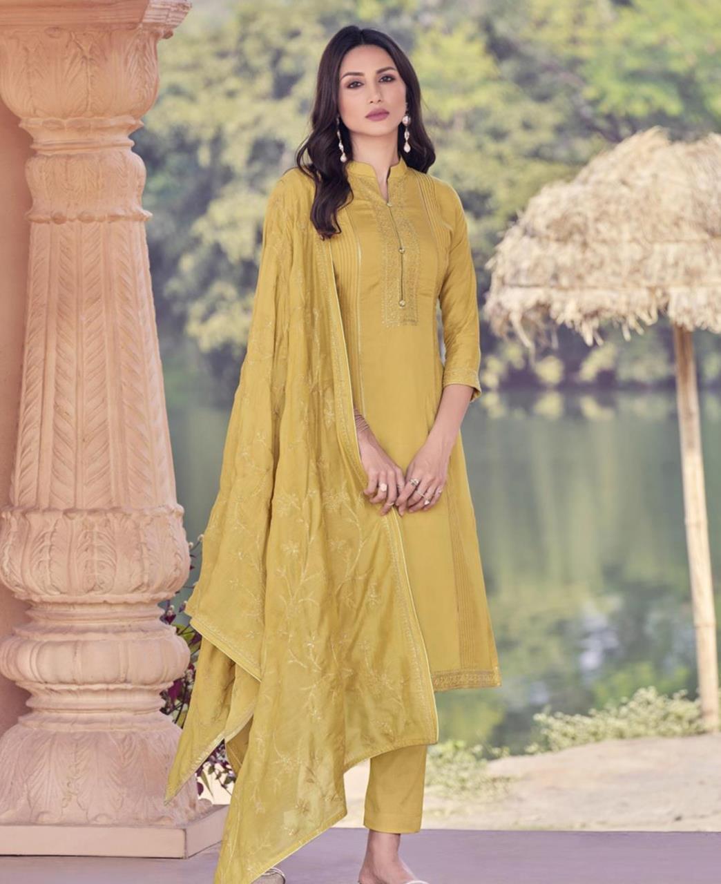 Zari Cotton Straight cut Salwar Kameez in Musterd