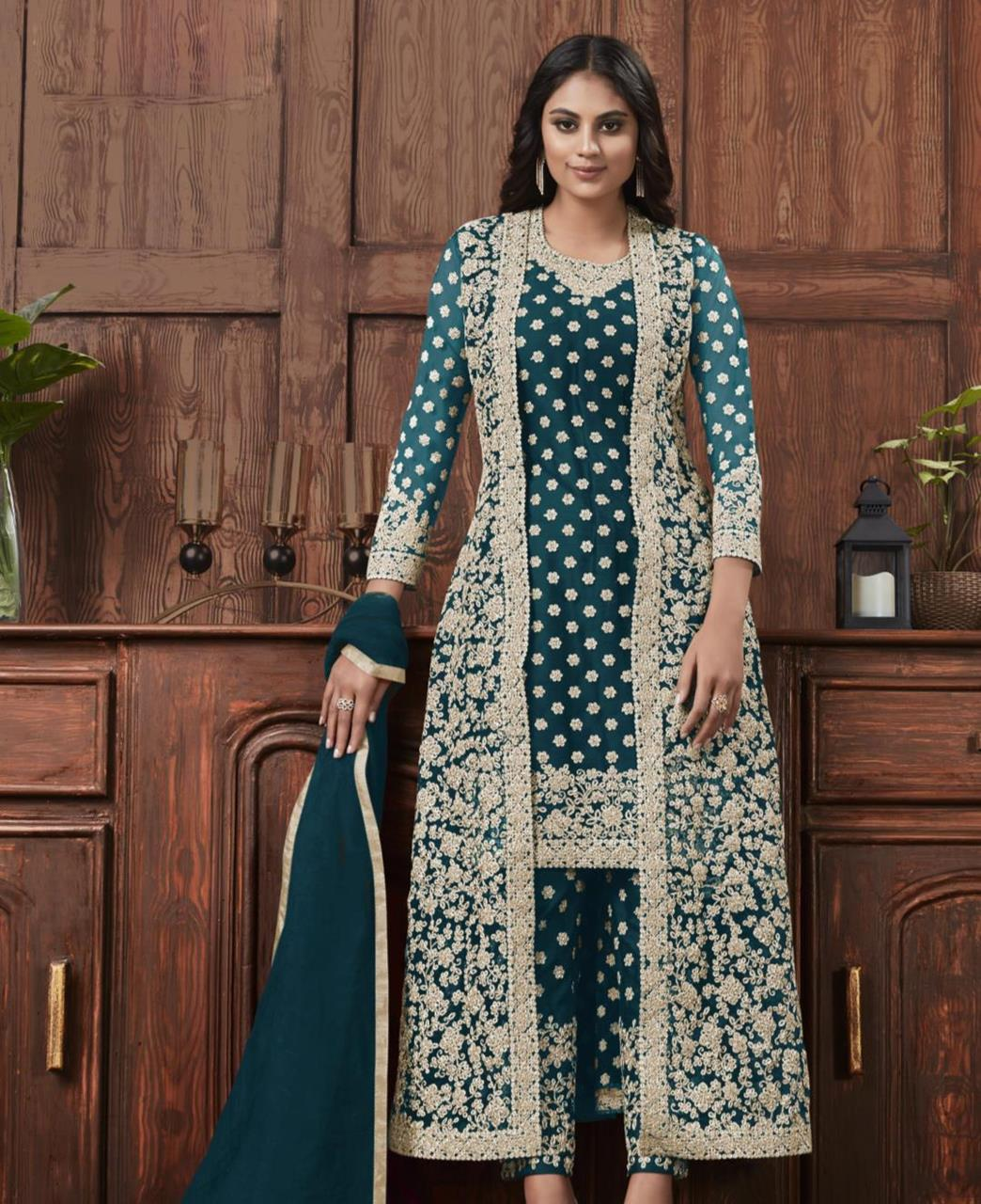 Satin Straight cut Salwar Kameez in Teal Blue