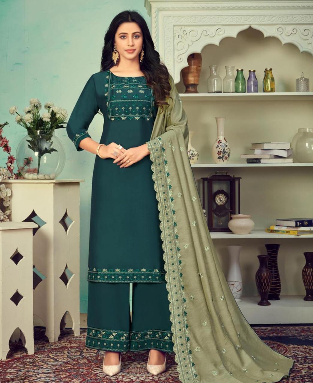 Thread Cotton Straight cut Salwar Kameez in Dark Teal