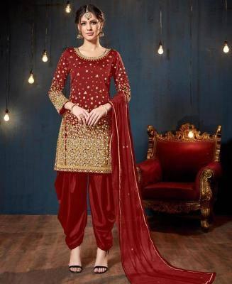 Stone Work Silk Maroon Patiyala Suit Salwar