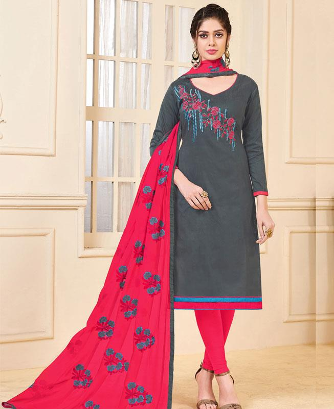 Embroidered Bangalore Silk Gray Straight cut Salwar