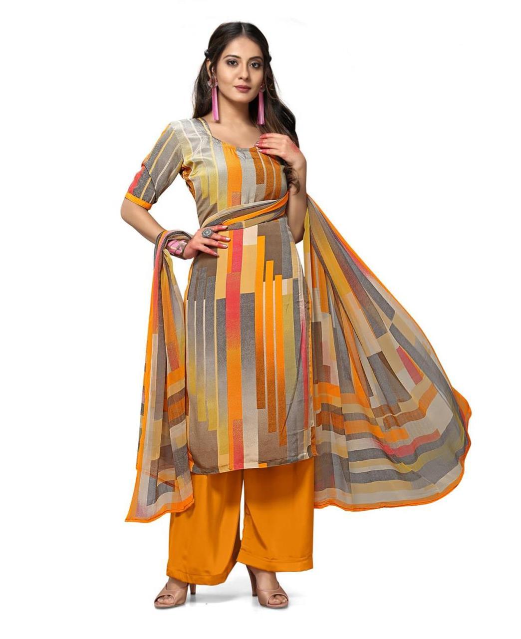 Printed Georgette Straight cut Salwar Kameez in Gray  ,  Yellow