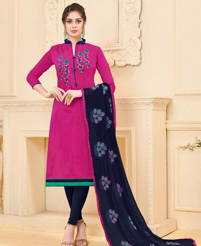 Embroidered Bangalore Silk Pink Straight cut Salwar