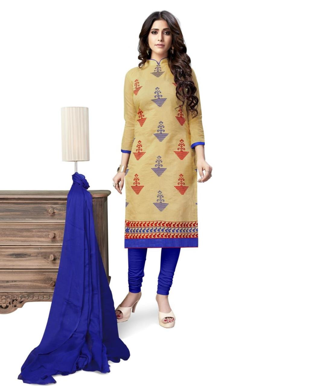 Embroidered Chanderi Beige Straight Cut Salwar