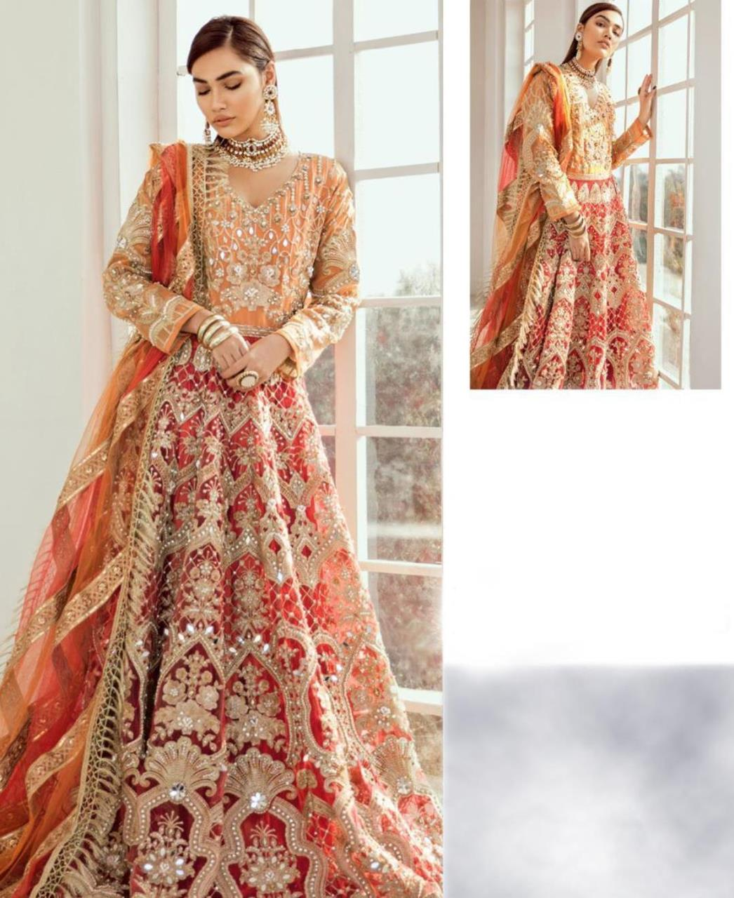 Embroidered Georgette Abaya Style Salwar in Red  ,  Orange