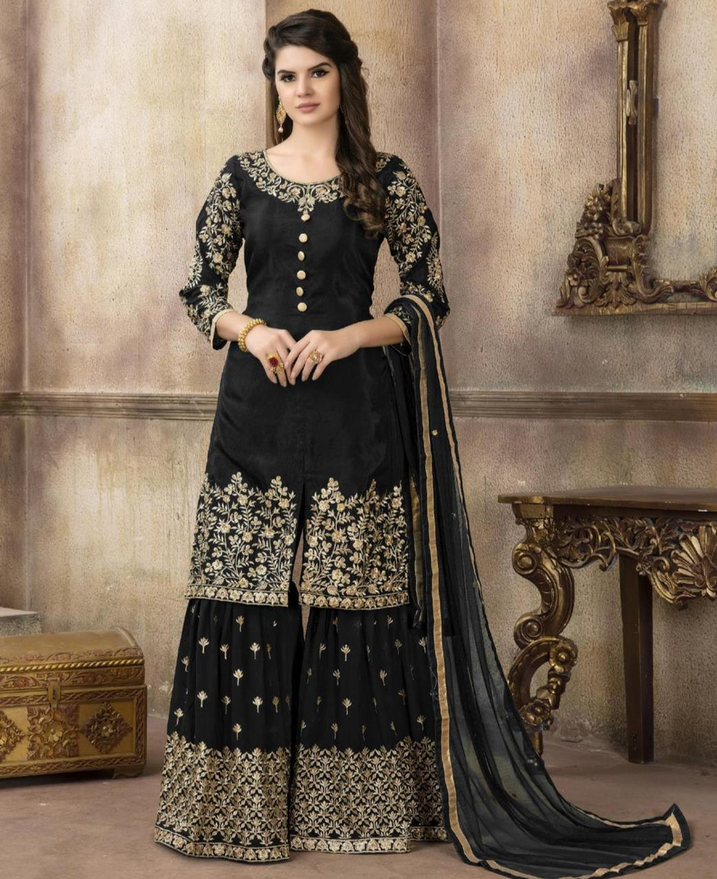 Embroidered Silk Black Palazzo Suit Salwar