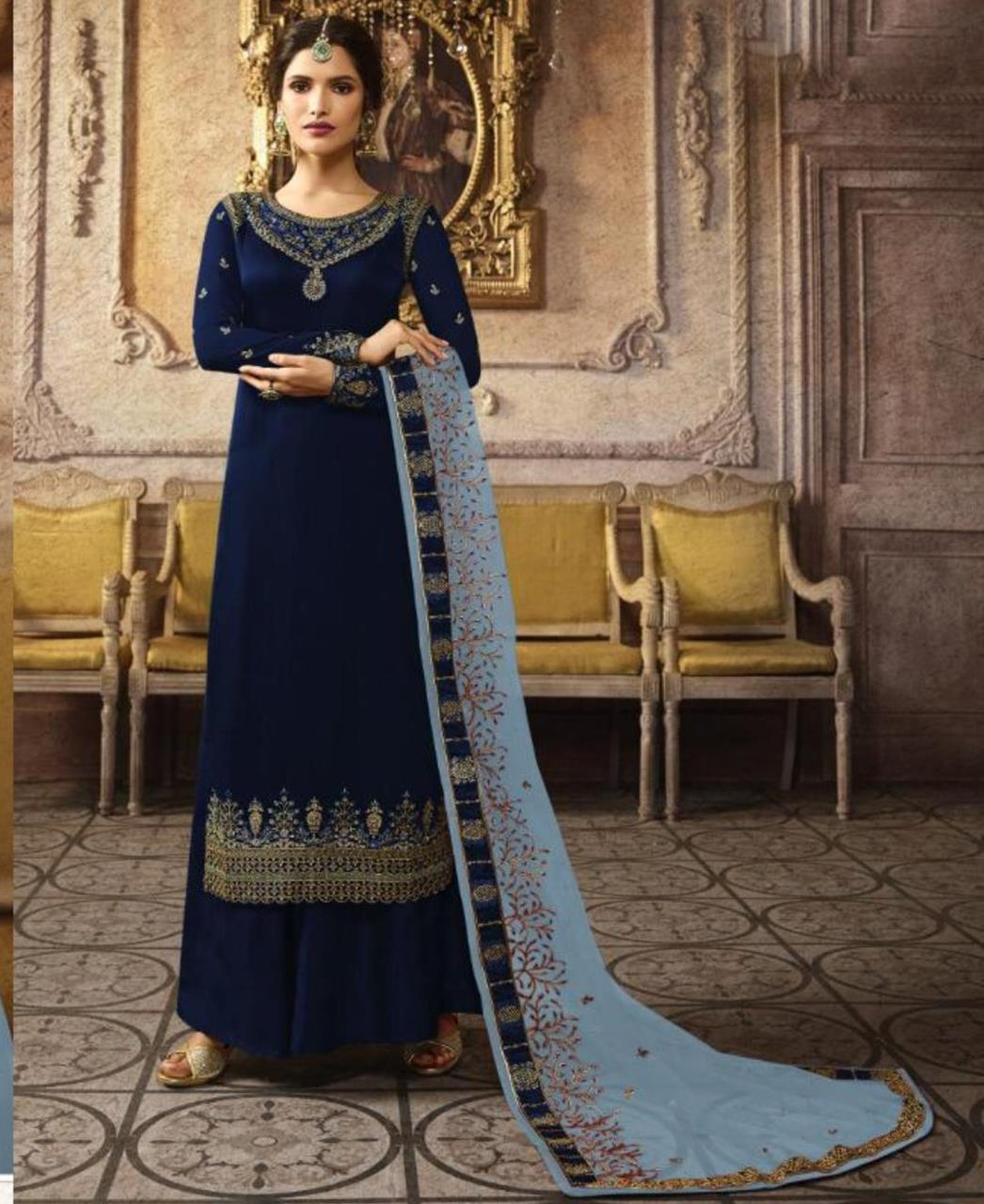 Stone Work Georgette Straight cut Salwar Kameez in Navy Blue
