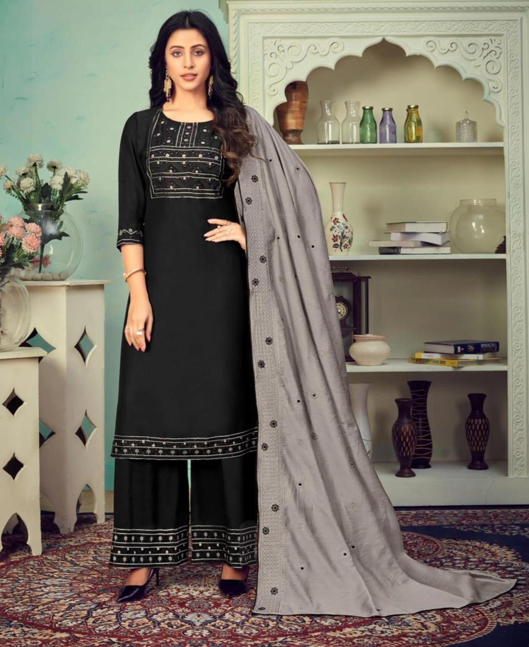 Thread Cotton Straight cut Salwar Kameez in Black