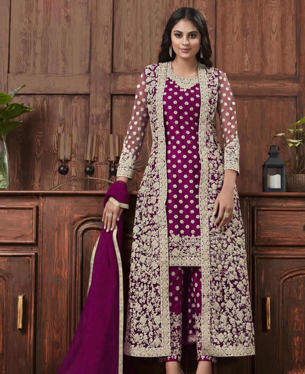 Satin Straight cut Salwar Kameez in Purple