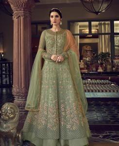 HandWorked Silk Abaya Style Salwar in Fennel Green