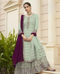 Embroidered Georgette Straight cut Salwar Kameez in Paleturquoise