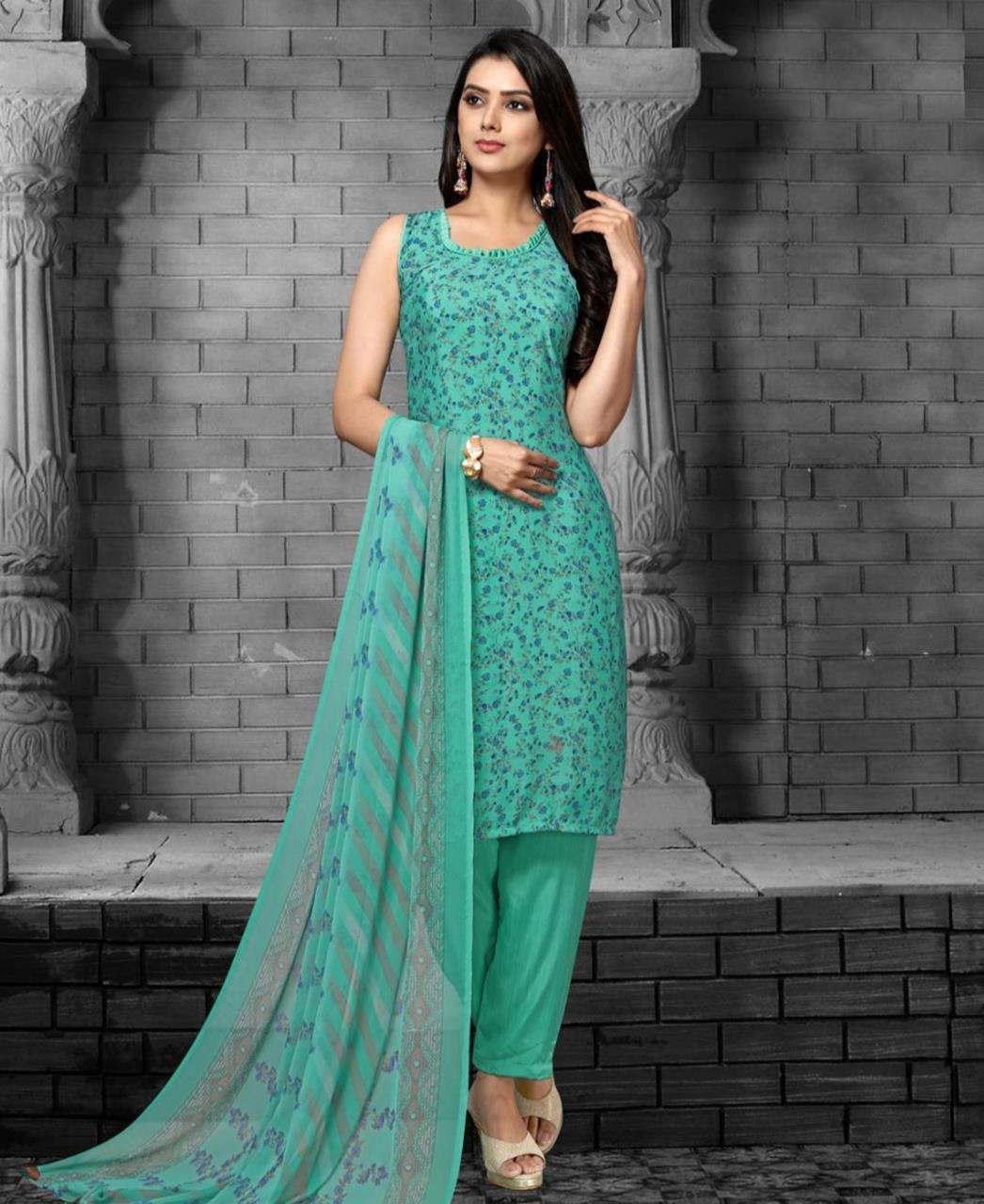 Printed Georgette Straight cut Salwar Kameez in Sea Green