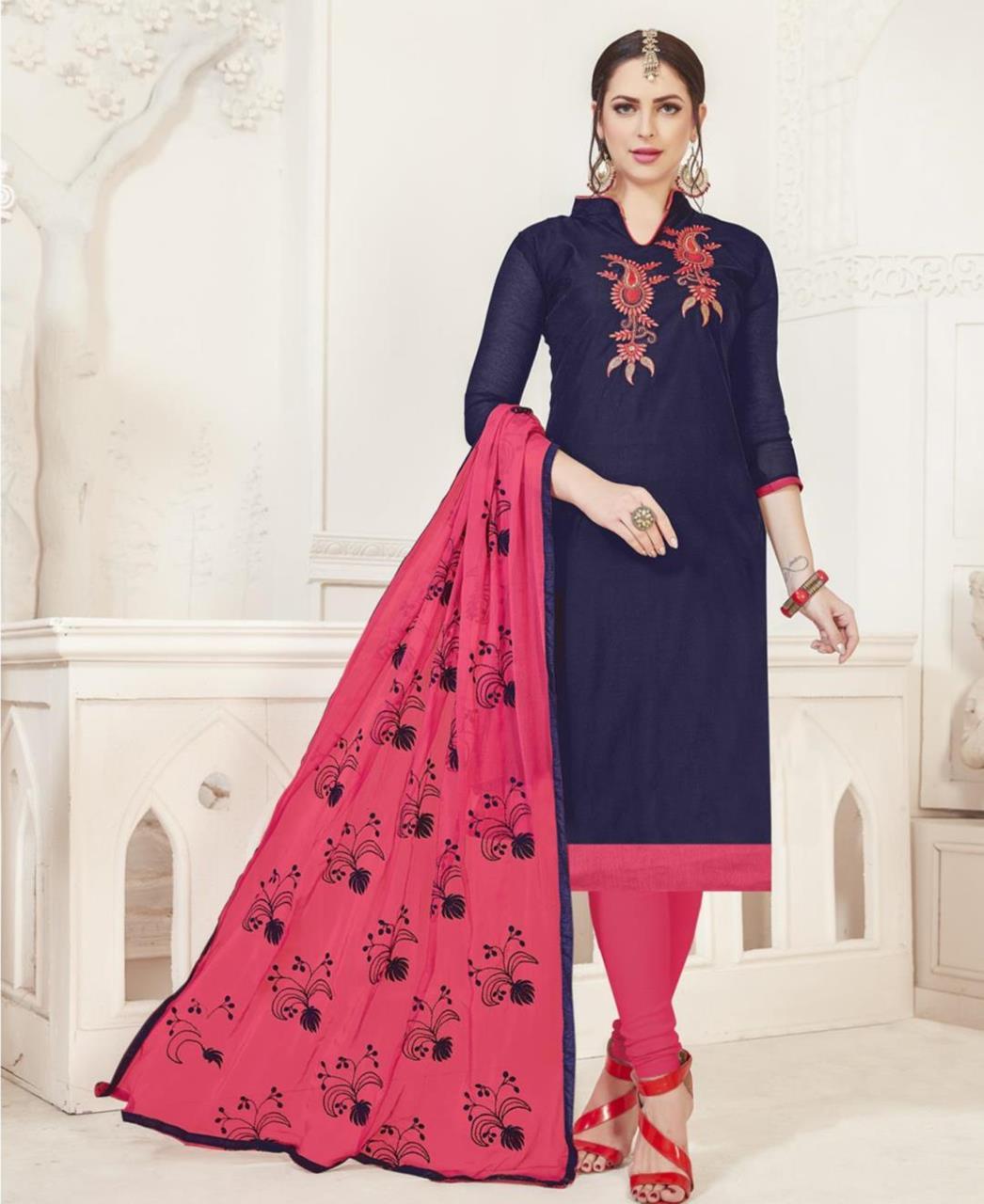 Embroidered Silk Navyblue Straight Cut Salwar