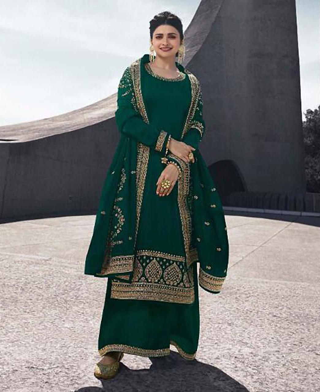 Georgette Straight cut Salwar Kameez in Dark Green