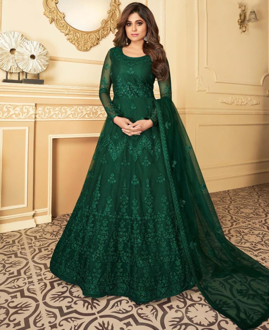 Thread Satin Abaya Style Salwar in Green