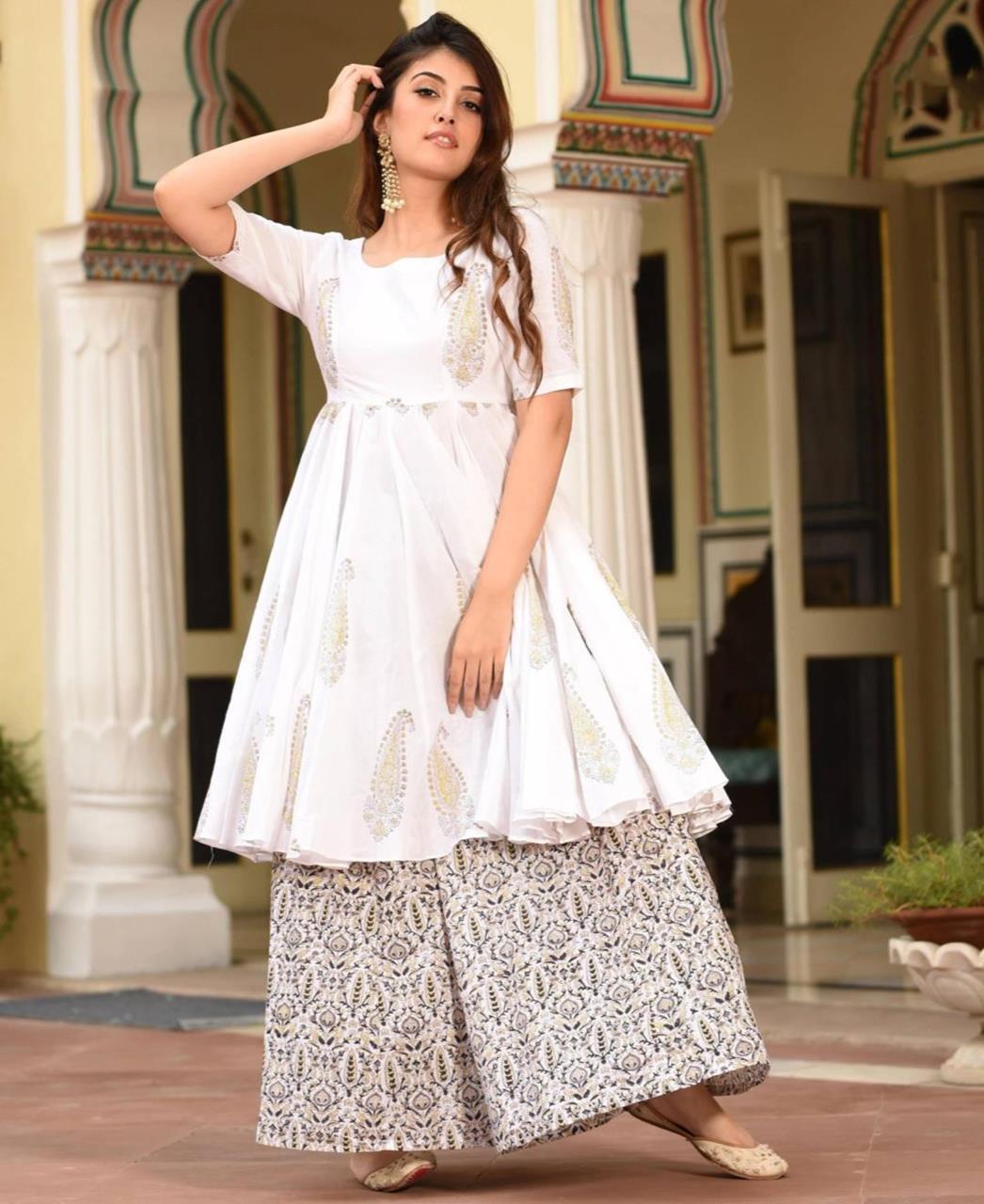 Printed Silk White Palazzo Suit Salwar