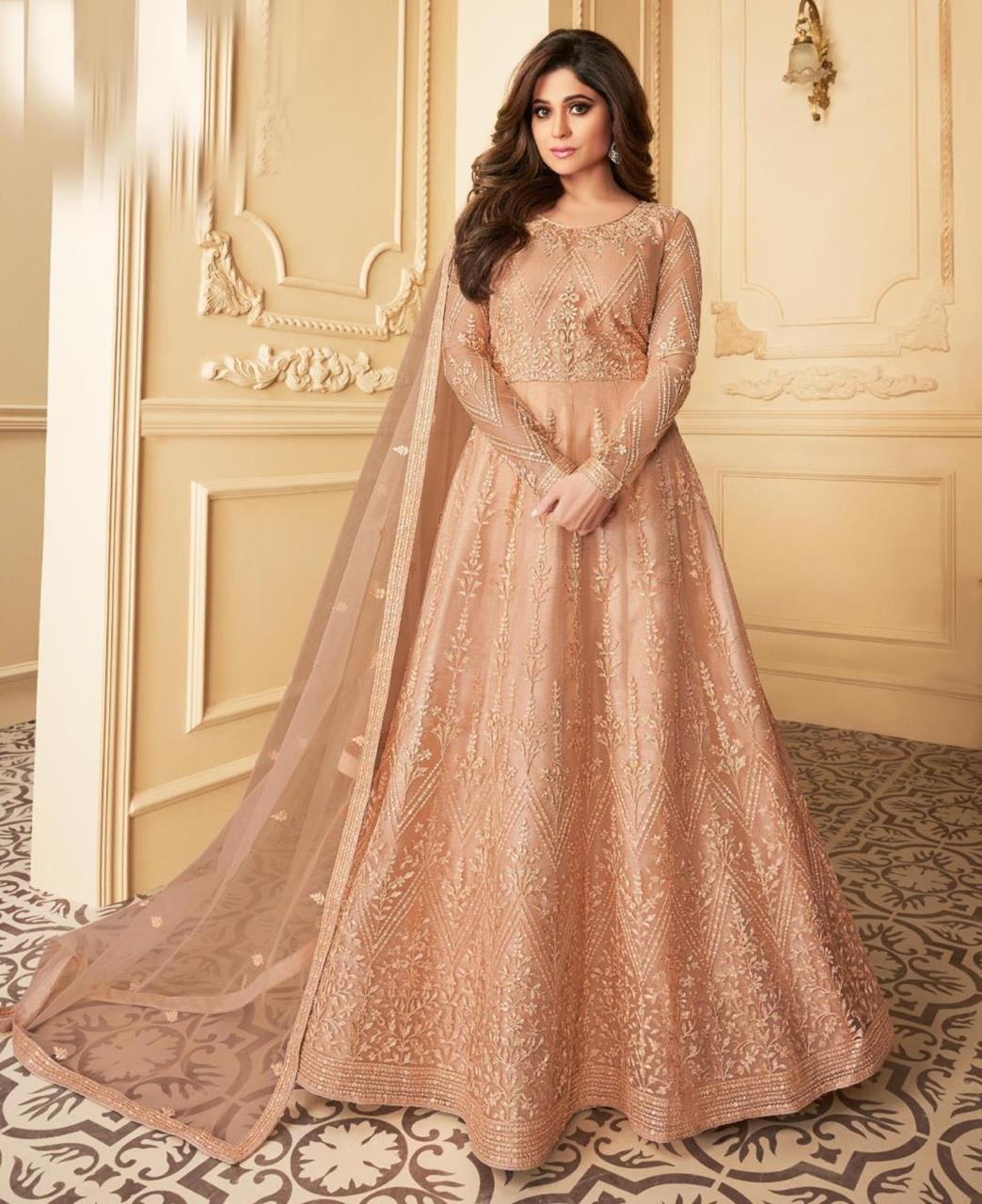 Thread Satin Abaya Style Salwar in Peach