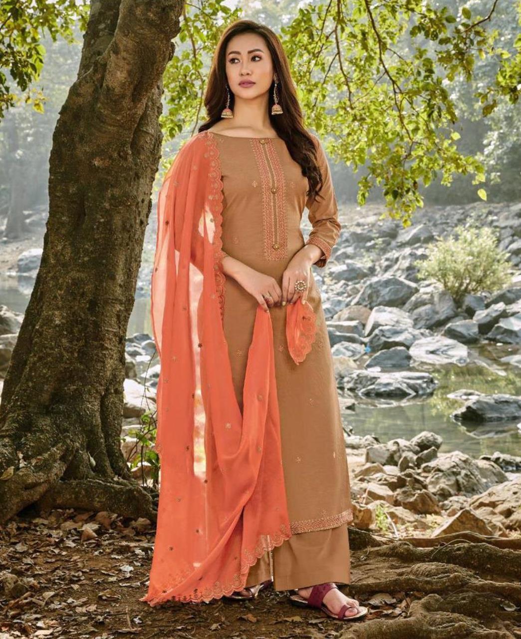 HandWorked Cotton Straight cut Salwar Kameez in Beige