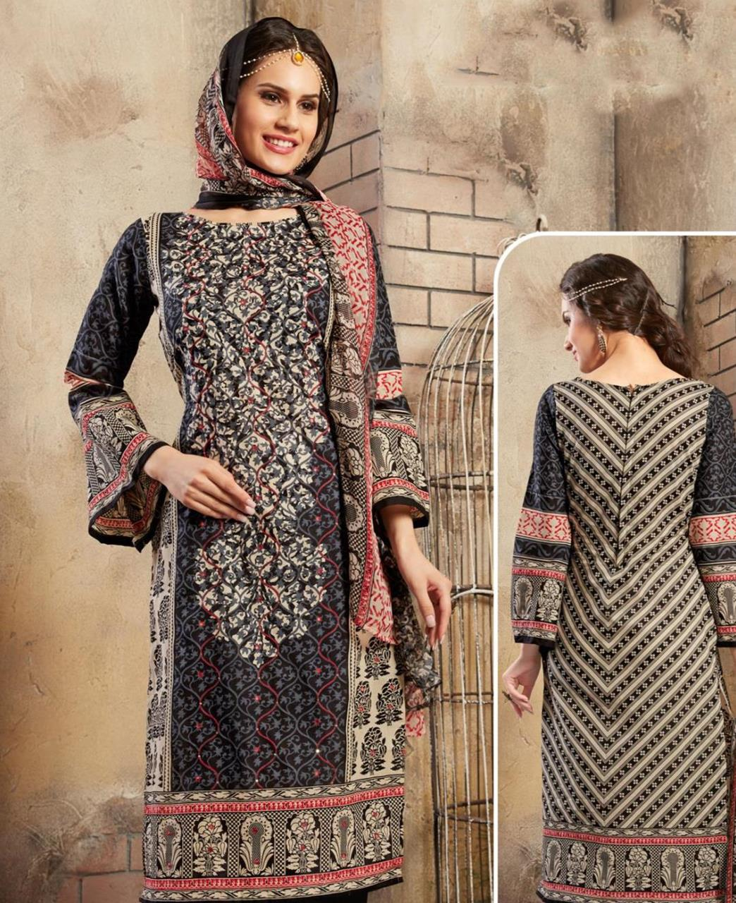 Printed Cotton Black Straight Cut Salwar