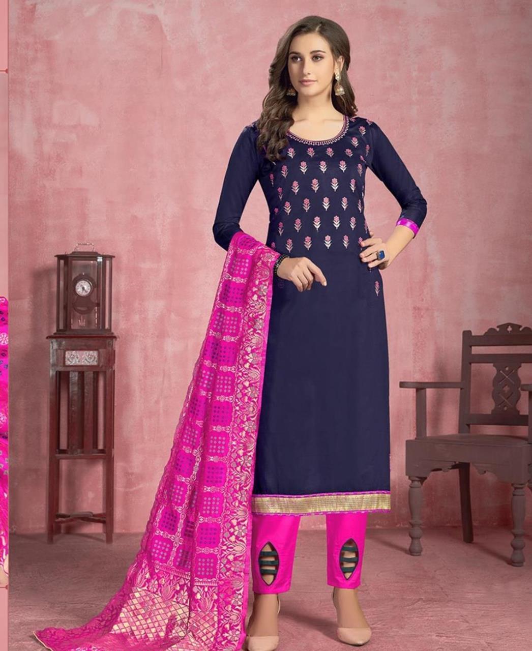 Thread Cotton Straight cut Salwar Kameez in Navy Blue