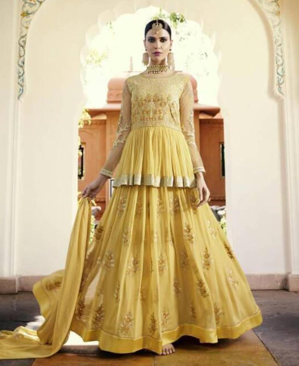 Embroidered Georgette Abaya Style Salwar in Yellow