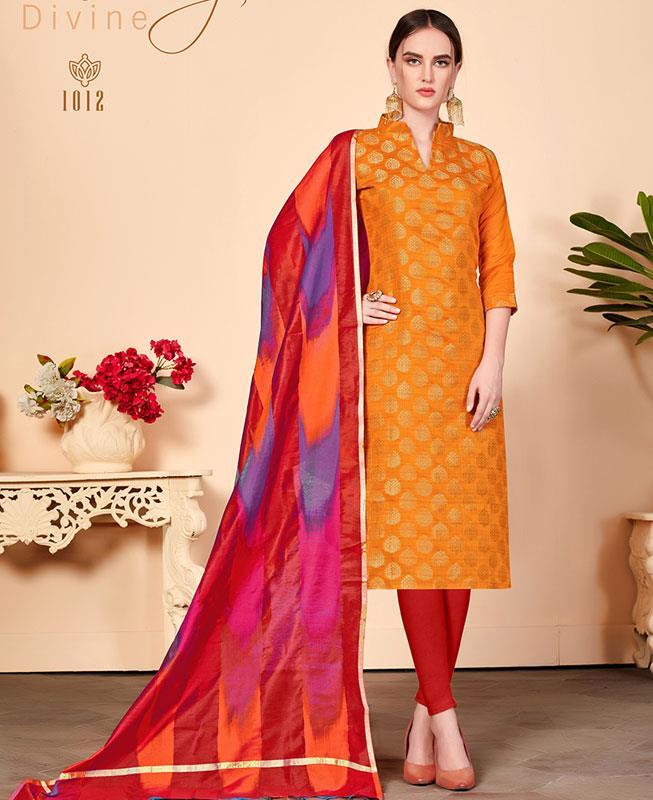 Cotton Straight cut Salwar Kameez in Orange