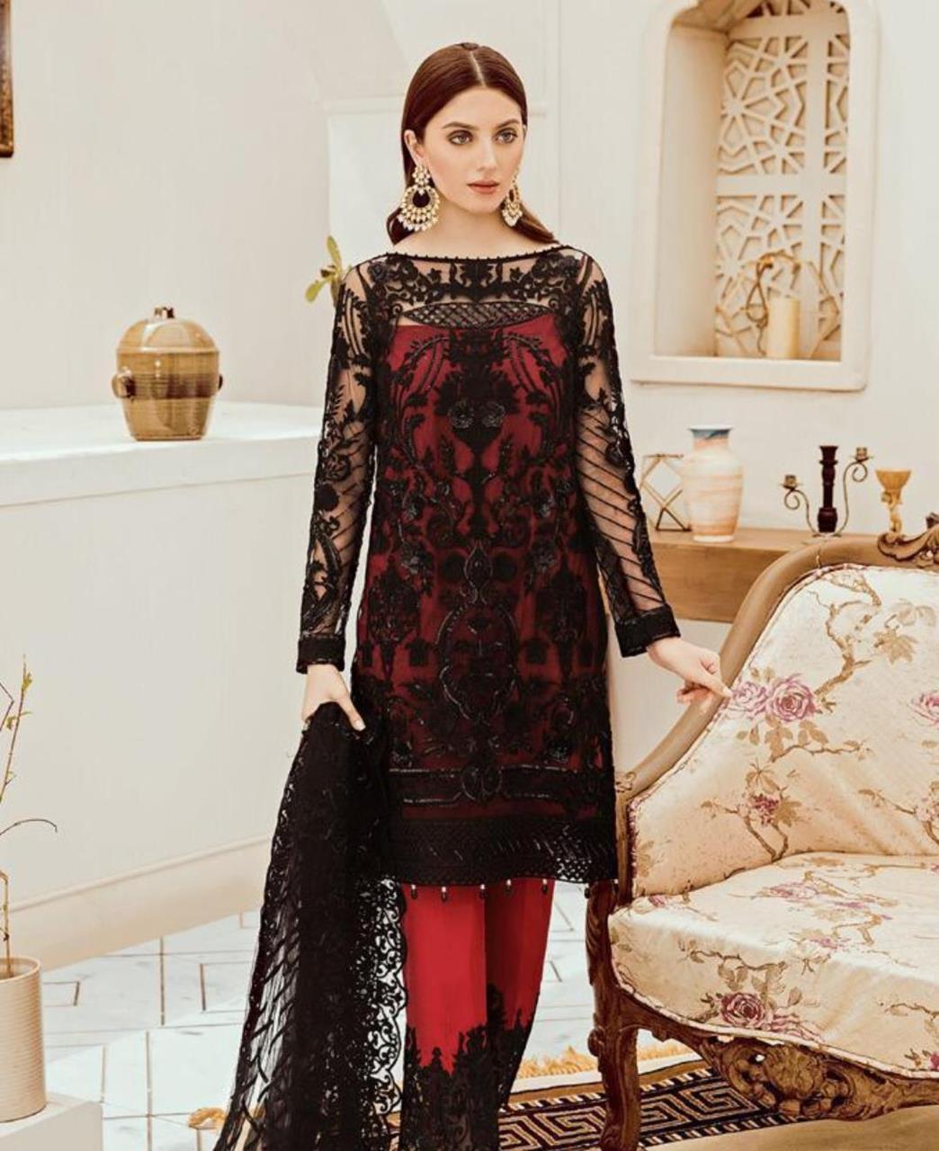 Zari Georgette Straight cut Salwar Kameez in Red  ,  Black