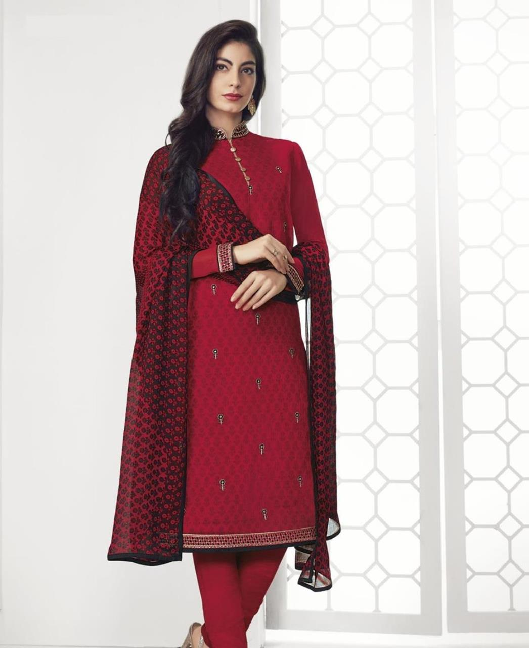 Stone Work Georgette Straight cut Salwar Kameez in Red