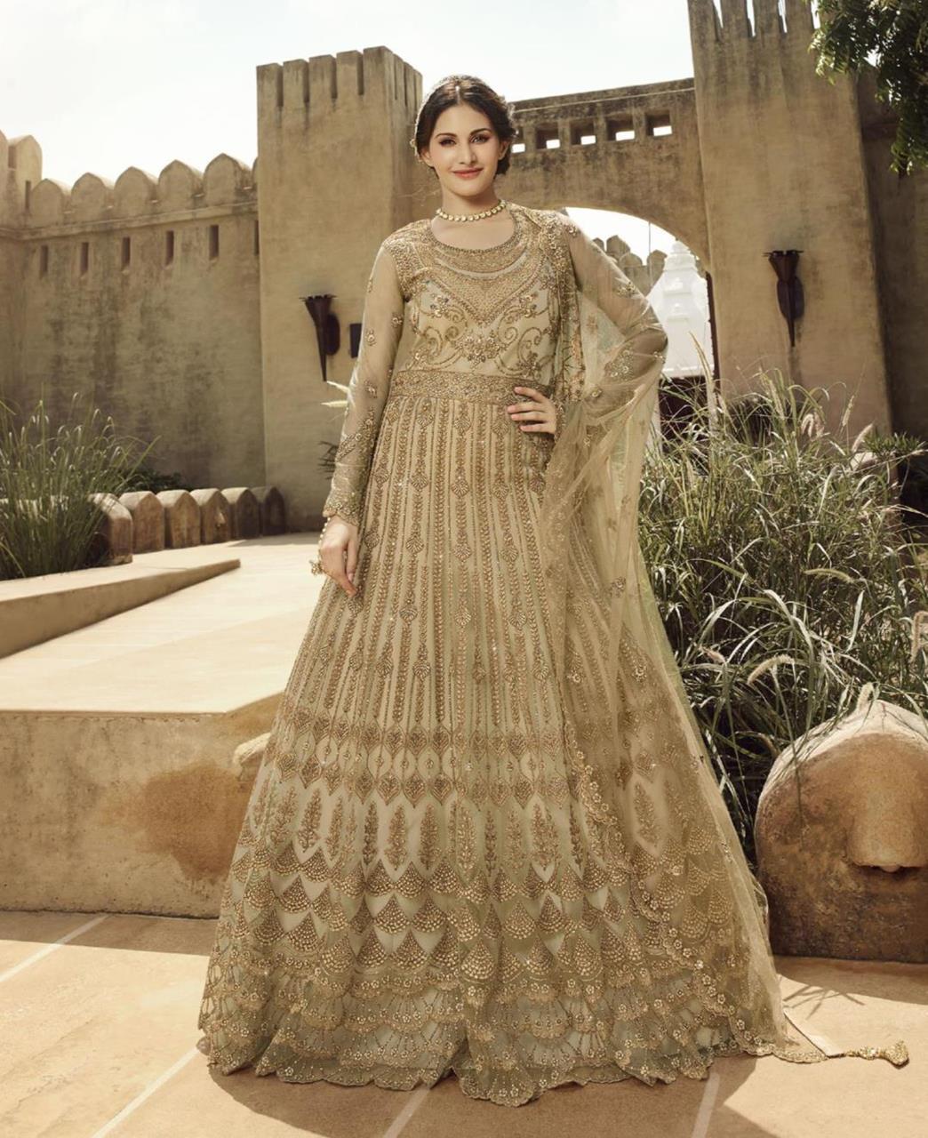 HandWorked Net Abaya Style Salwar in Beige