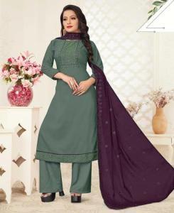 Thread Cotton Straight cut Salwar Kameez in Dusty Teal