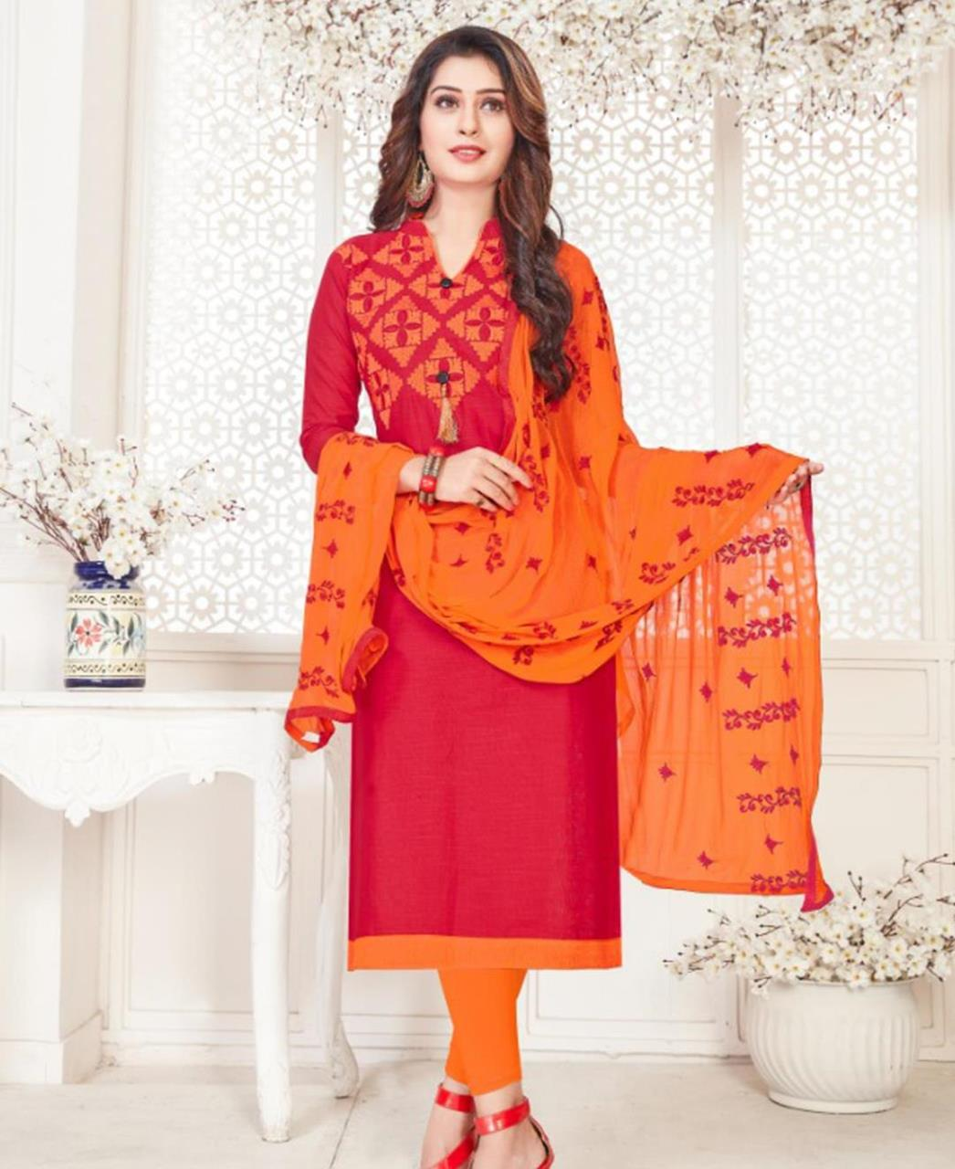 Embroidered Cotton Red Straight Cut Salwar Kameez