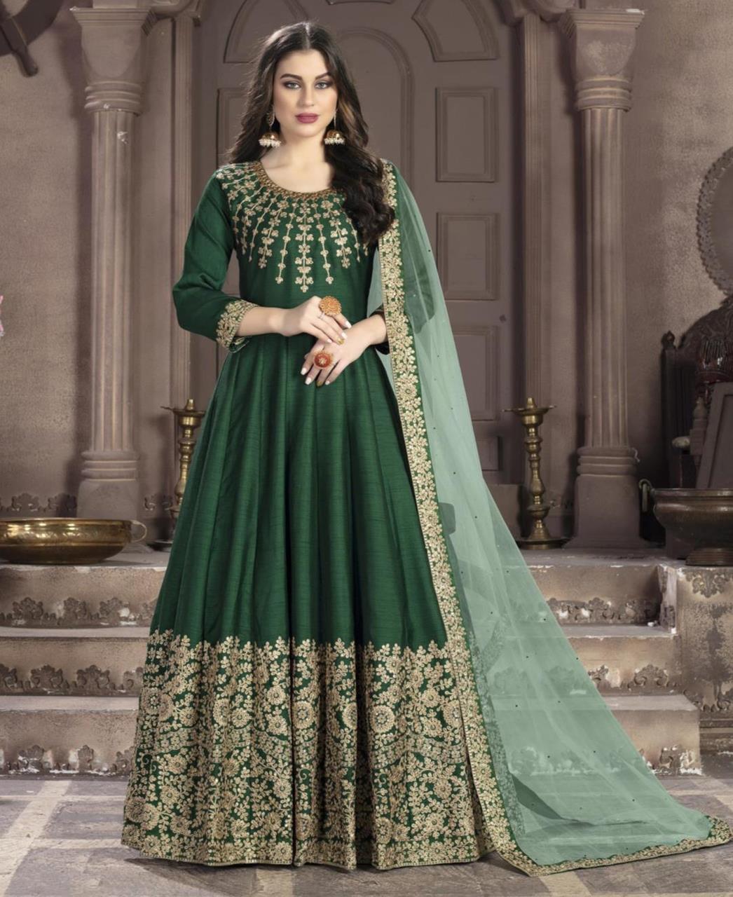 Embroidered Silk Green Anarkali Salwar