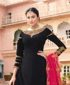 Embroidered Georgette Black Palazzo Suit Salwar